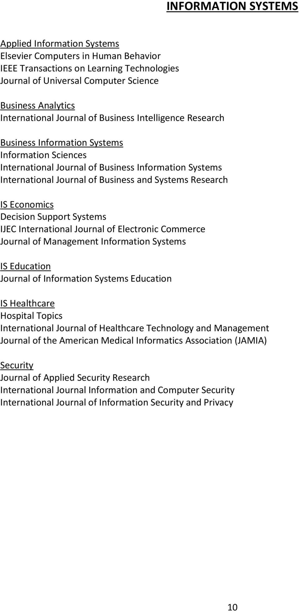 Research IS Economics Decision Support Systems IJEC International Journal of Electronic Commerce Journal of Management Information Systems IS Education Journal of Information Systems Education IS