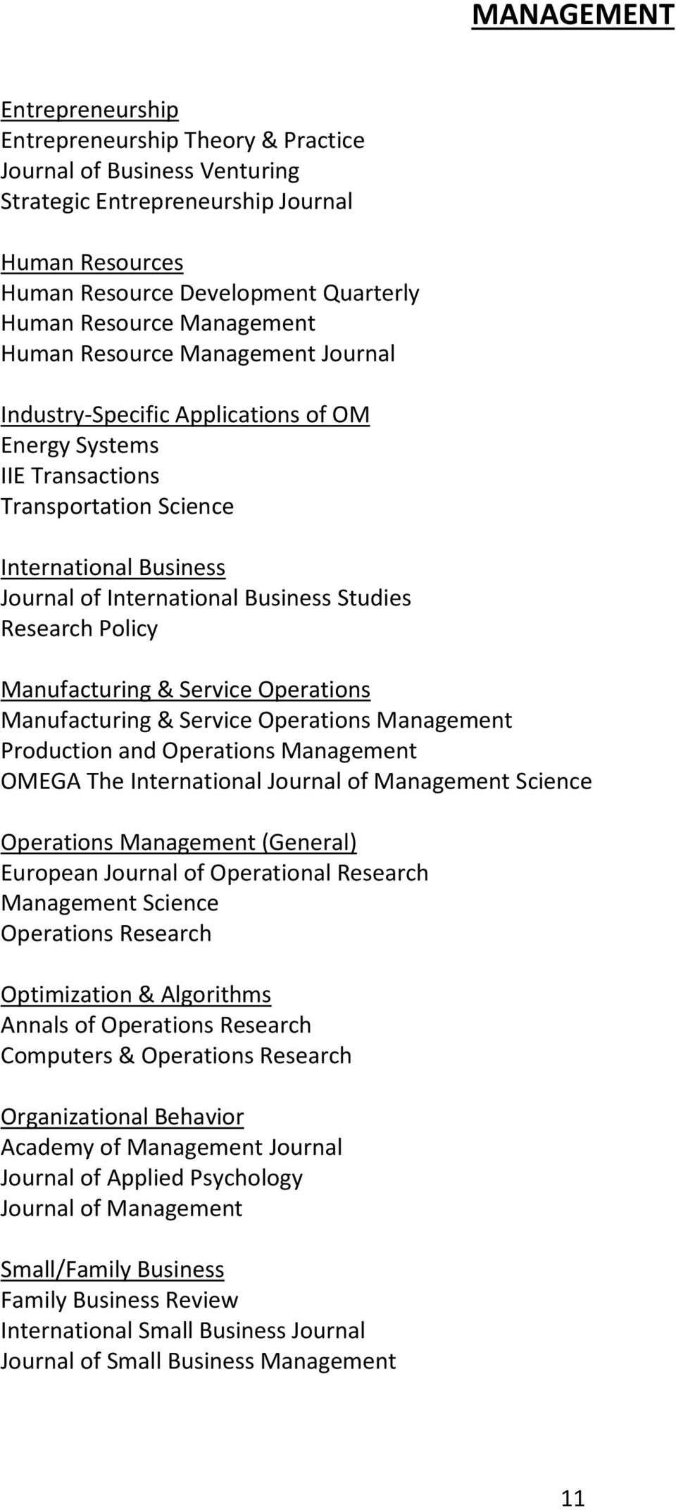 Studies Research Policy Manufacturing & Service Operations Manufacturing & Service Operations Management Production and Operations Management OMEGA The International Journal of Management Science
