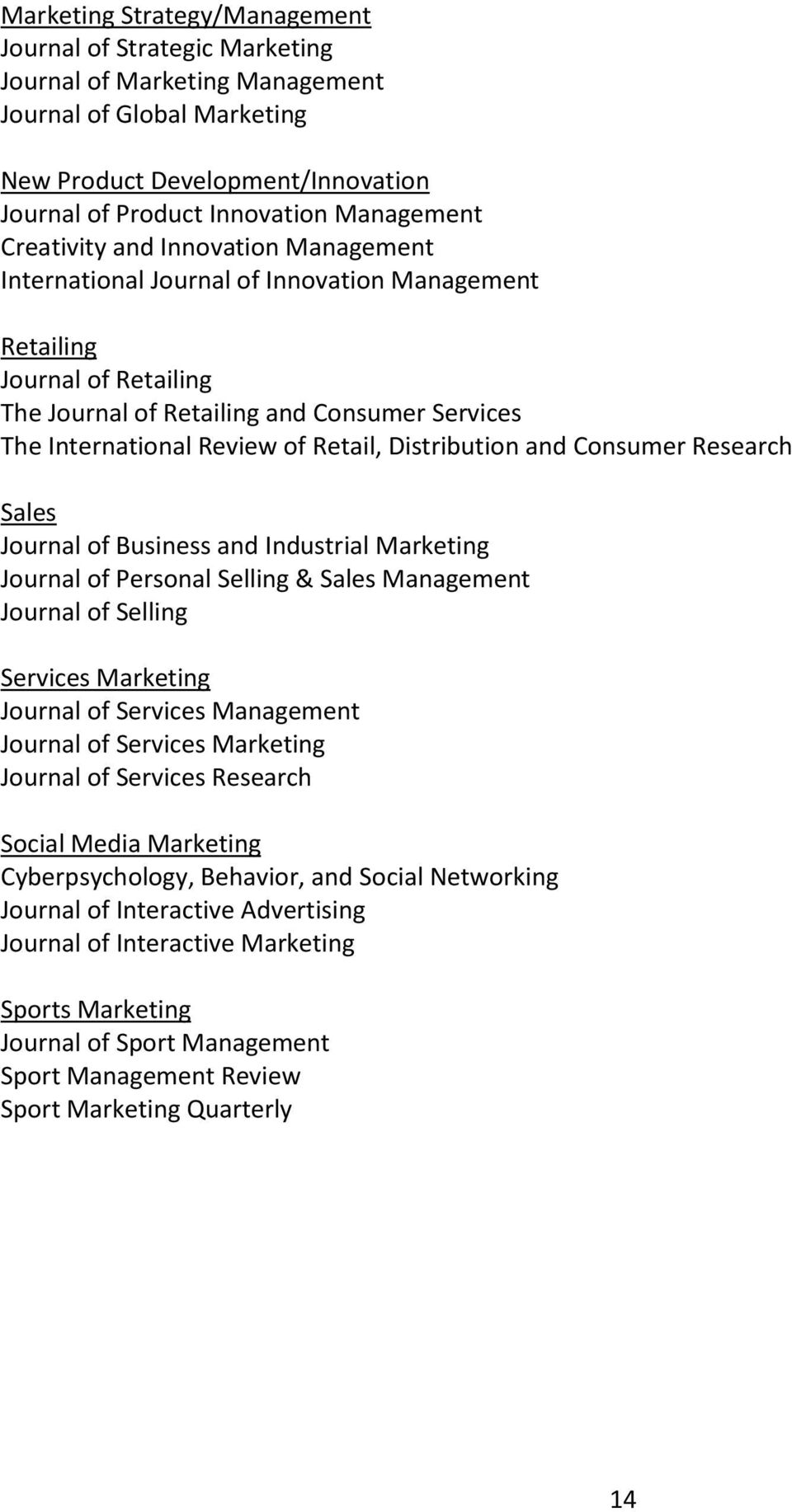 Distribution and Consumer Research Sales Journal of Business and Industrial Marketing Journal of Personal Selling & Sales Management Journal of Selling Services Marketing Journal of Services