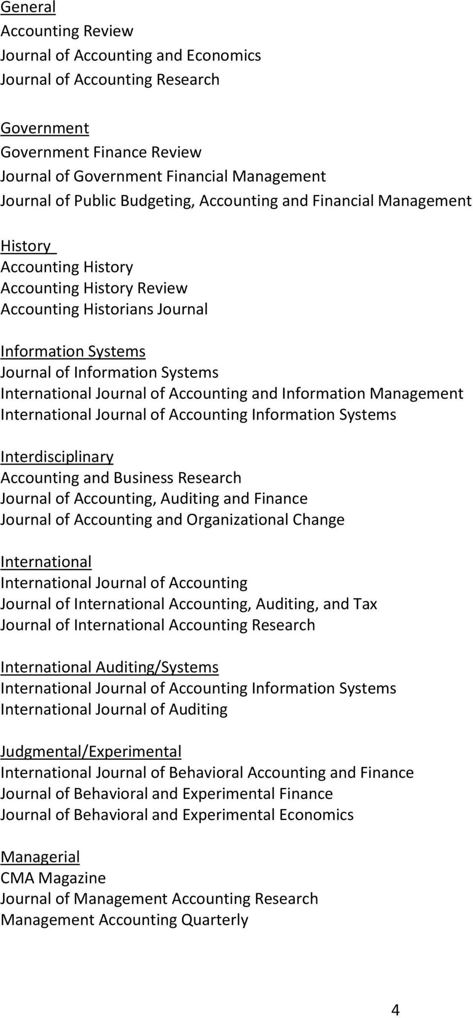 Journal of Accounting and Information Management International Journal of Accounting Information Systems Interdisciplinary Accounting and Business Research Journal of Accounting, Auditing and Finance