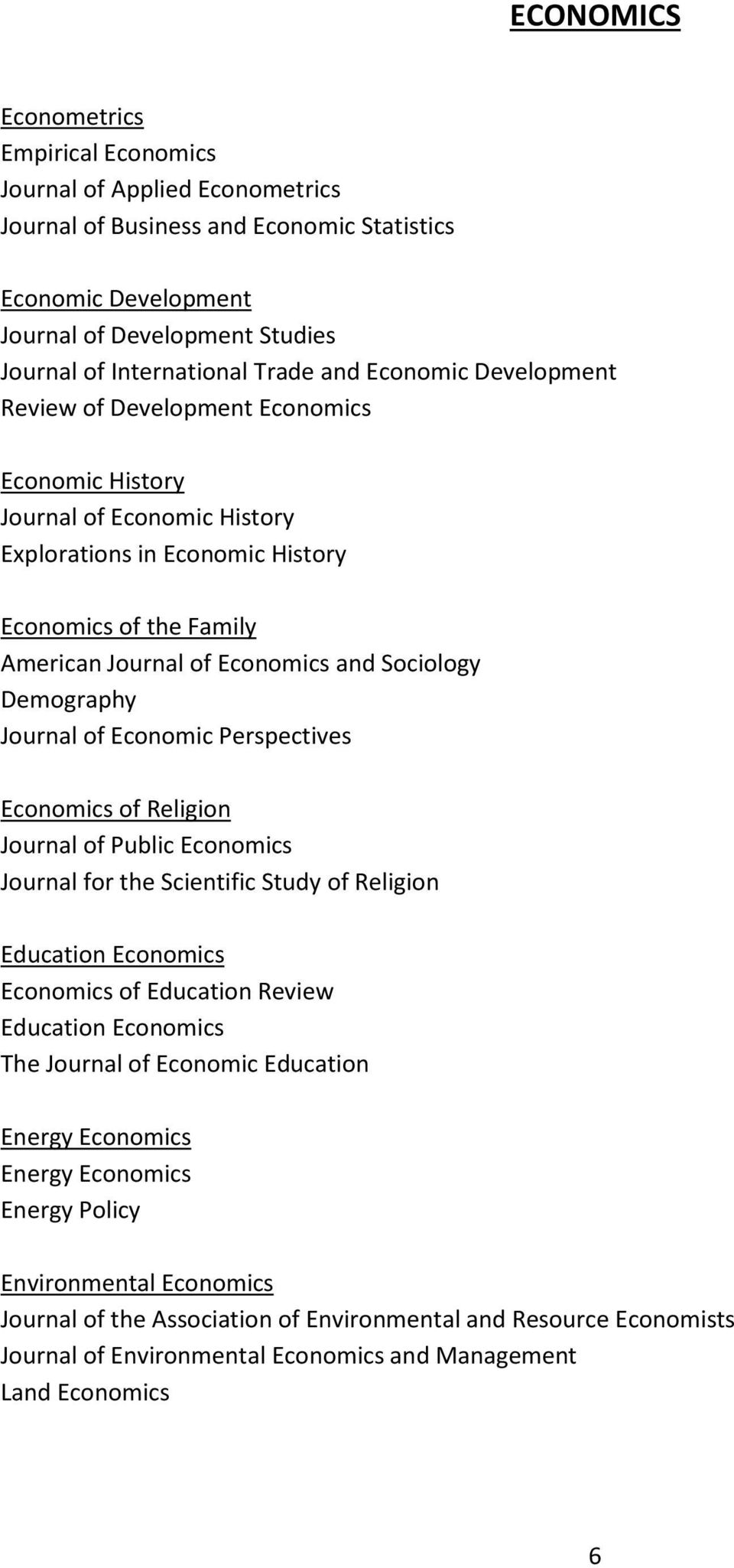 Sociology Demography Journal of Economic Perspectives Economics of Religion Journal of Public Economics Journal for the Scientific Study of Religion Education Economics Economics of Education Review