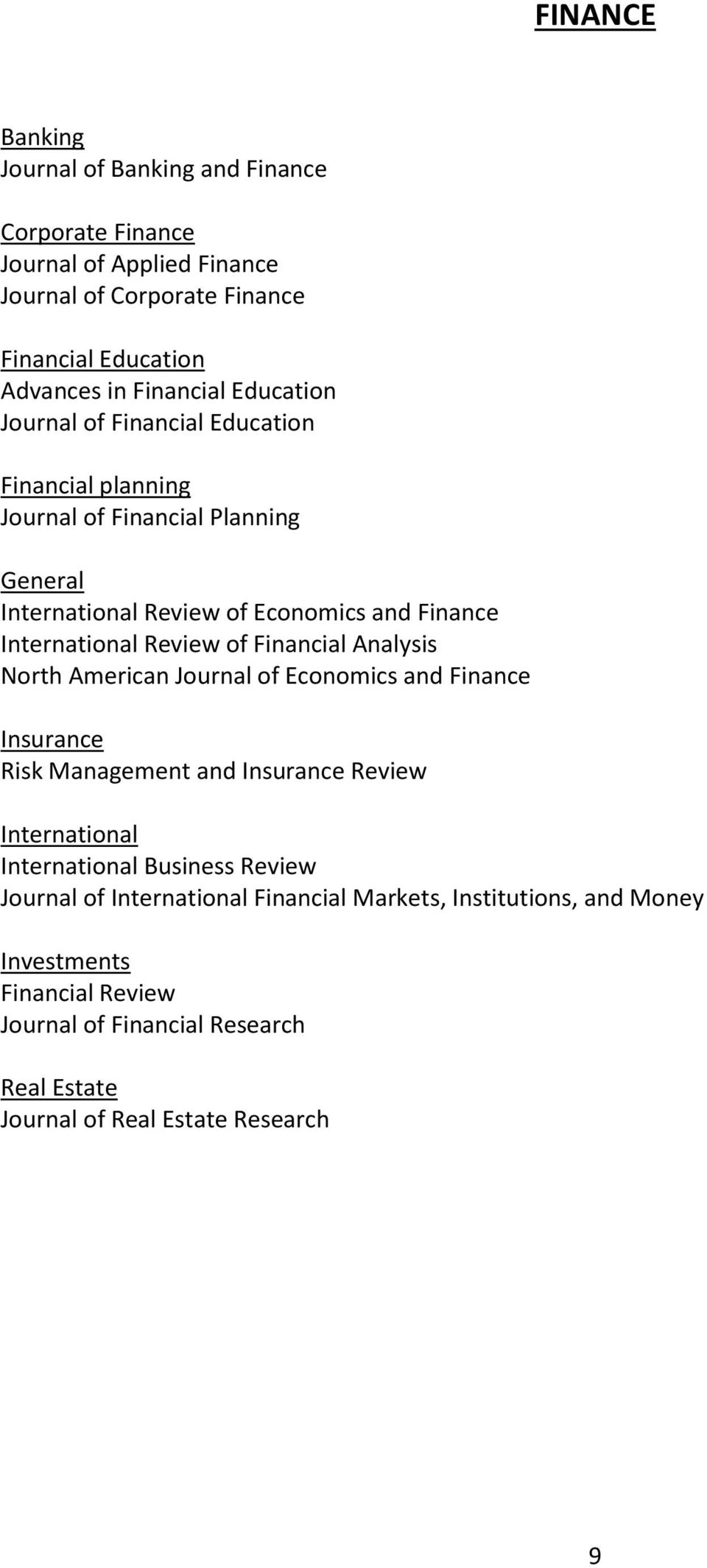 of Financial Analysis North American Journal of Economics and Finance Insurance Risk Management and Insurance Review International International Business Review