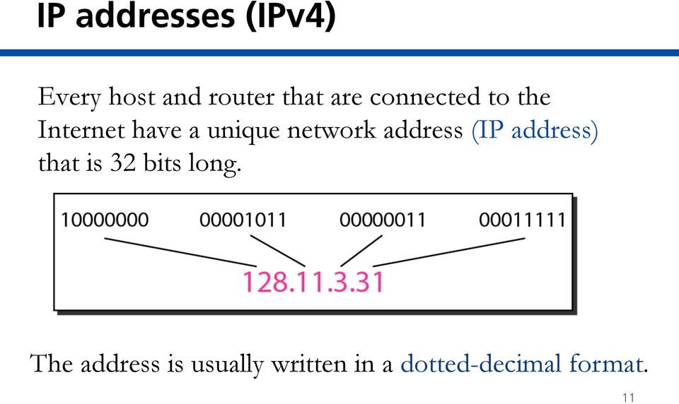 address (IP address) that is 32 bits long.