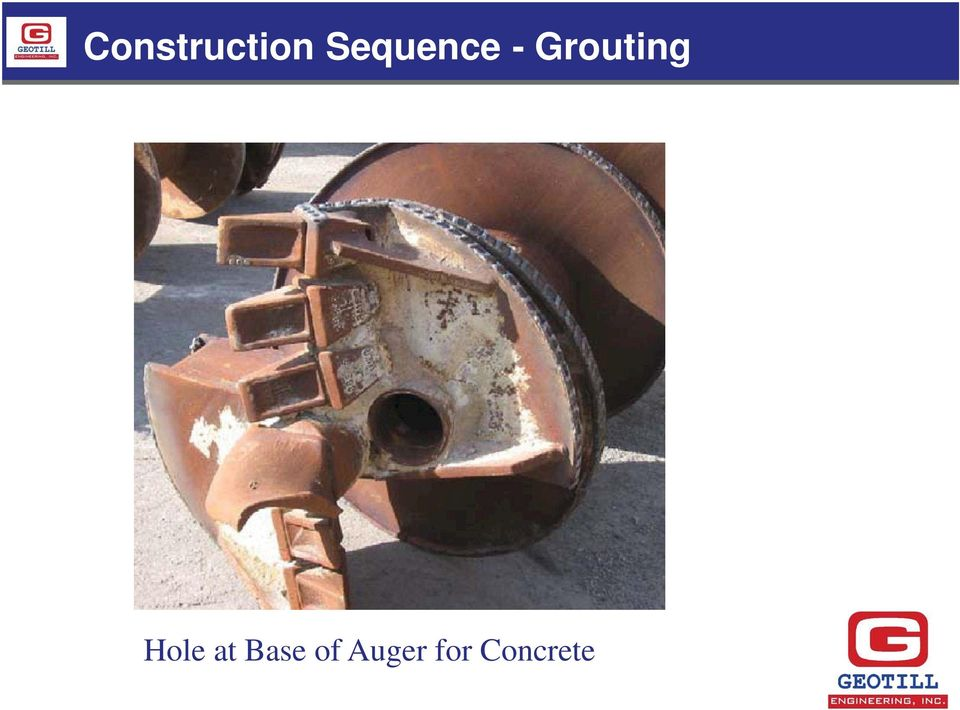 Grouting Hole at