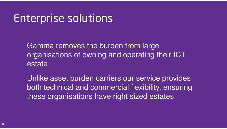 asset burden carriers our service provides both technical and