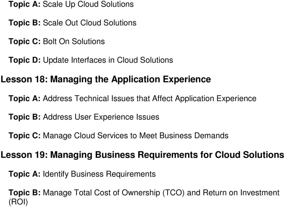 B: Address User Experience Issues Topic C: Manage Cloud Services to Meet Business Demands Lesson 19: Managing Business Requirements