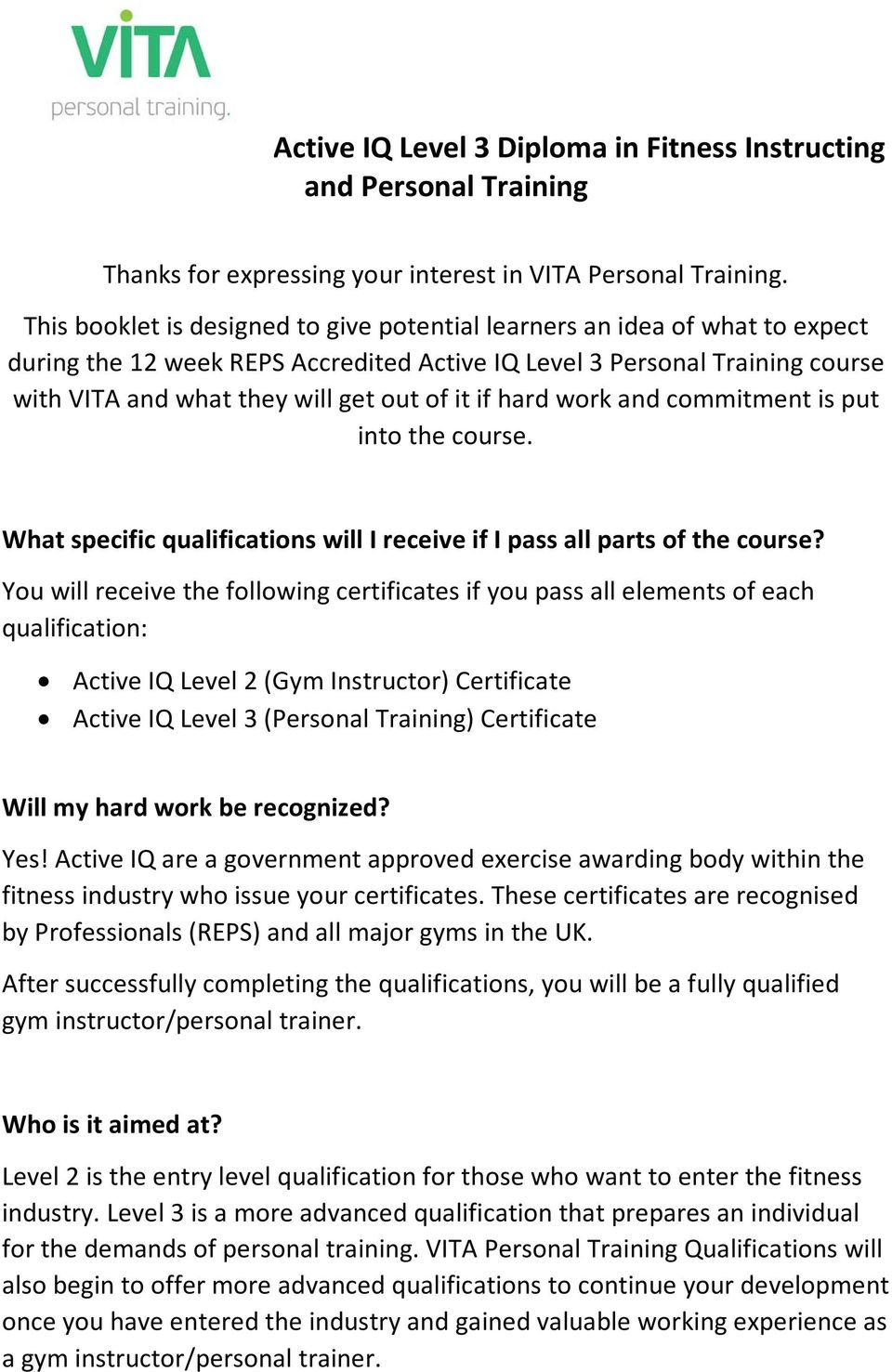 Active Iq Level 3 Diploma In Fitness Instructing And Personal