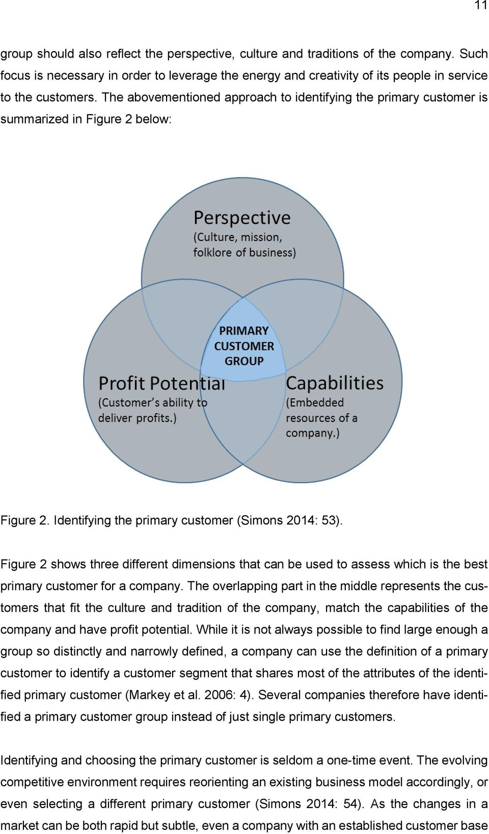 Figure 2 shows three different dimensions that can be used to assess which is the best primary customer for a company.