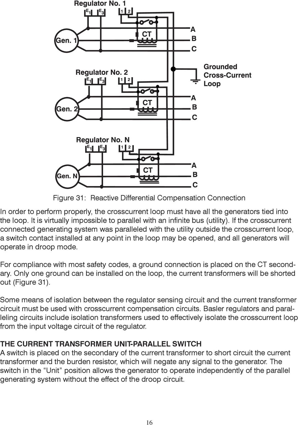 If the crosscurrent connected generating system was paralleled with the utility outside the crosscurrent loop, a switch contact installed at any point in the loop may be opened, and all generators
