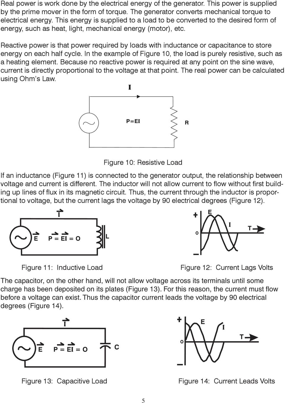 Reactive power is that power required by loads with inductance or capacitance to store energy on each half cycle. In the example of Figure 10, the load is purely resistive, such as a heating element.