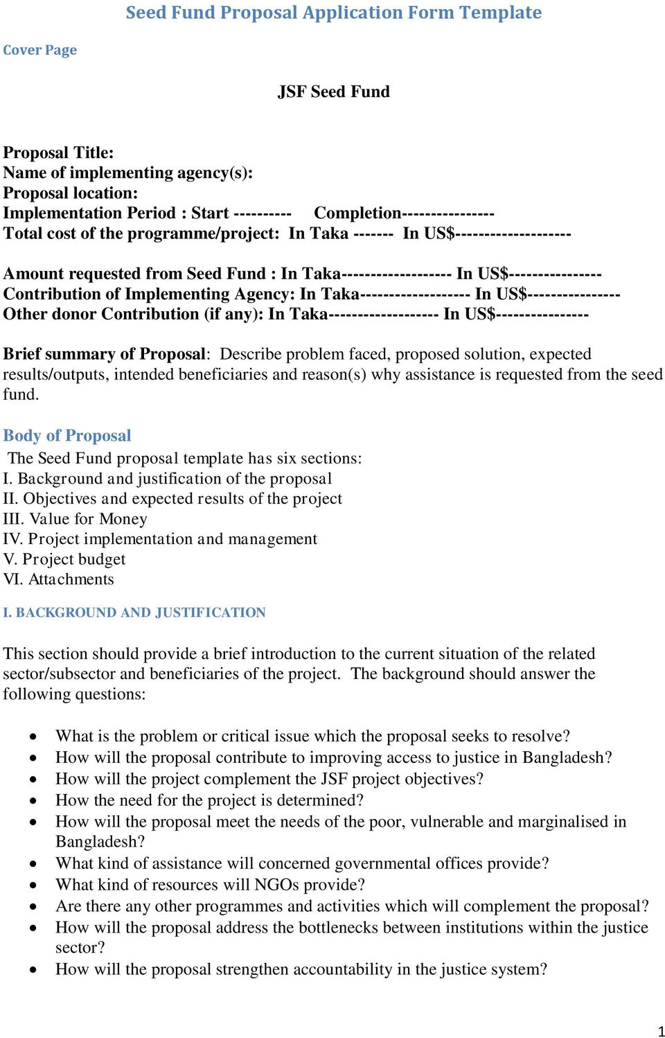seed fund proposal application form template pdf
