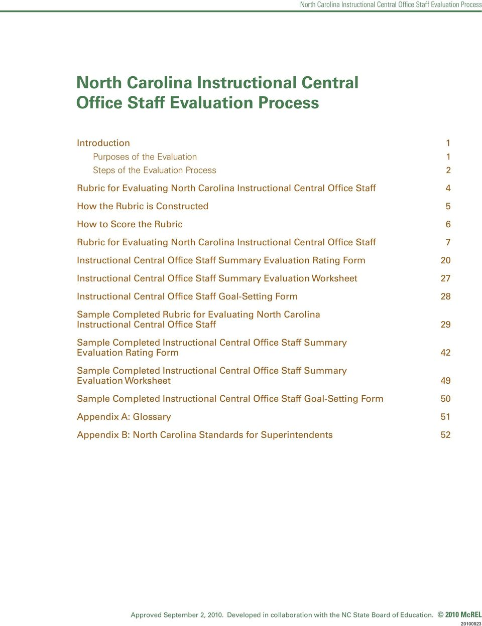 Evaluation Rating Form 20 Instructional Central Office Staff Summary Evaluation Worksheet 27 Instructional Central Office Staff Goal-Setting Form 28 Sample Completed Rubric for Evaluating North