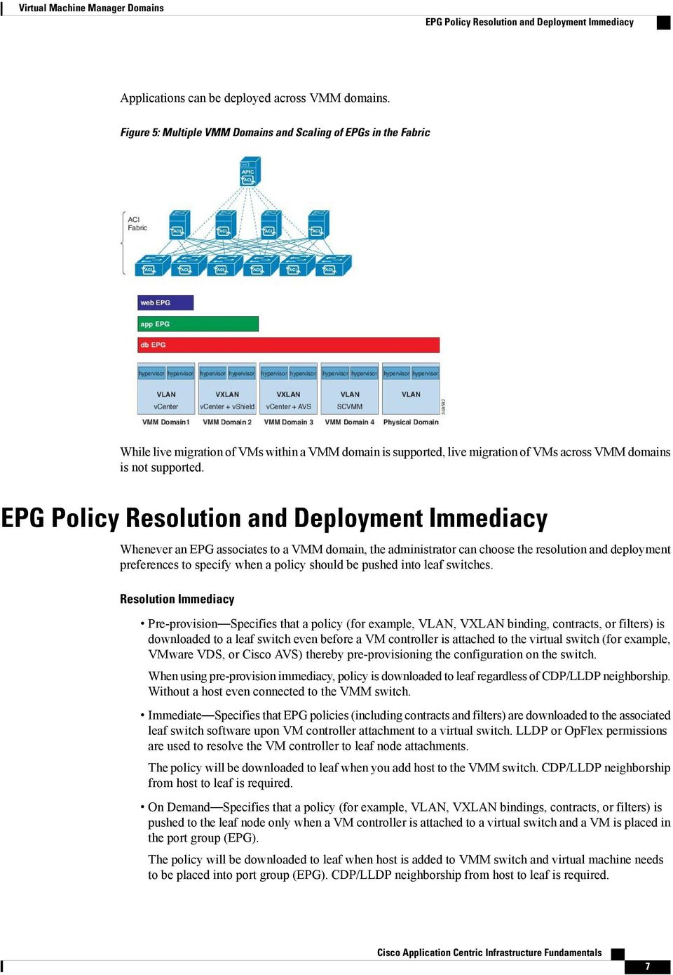 EPG Policy Resolution and Deployment Immediacy Whenever an EPG associates to a VMM domain, the administrator can choose the resolution and deployment preferences to specify when a policy should be