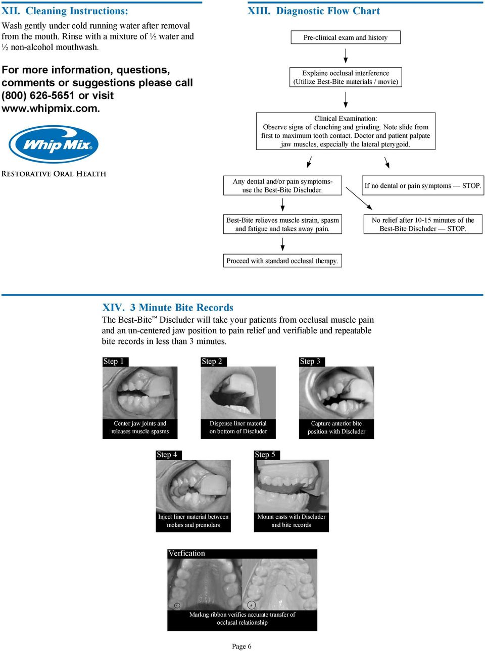 Diagnostic Flow Chart Pre-clinical exam and history Explaine occlusal interference (Utilize Best-Bite materials / movie) Clinical Examination: Observe signs of clenching and grinding.