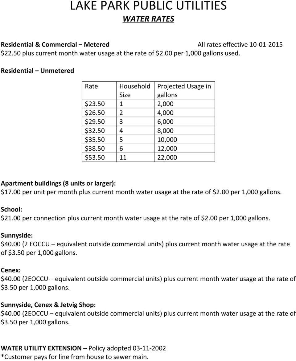 00 per unit per month plus current month water usage at the rate of $2.00 per 1,000 gallons. School: $21.00 per connection plus current month water usage at the rate of $2.00 per 1,000 gallons. Sunnyside: $40.