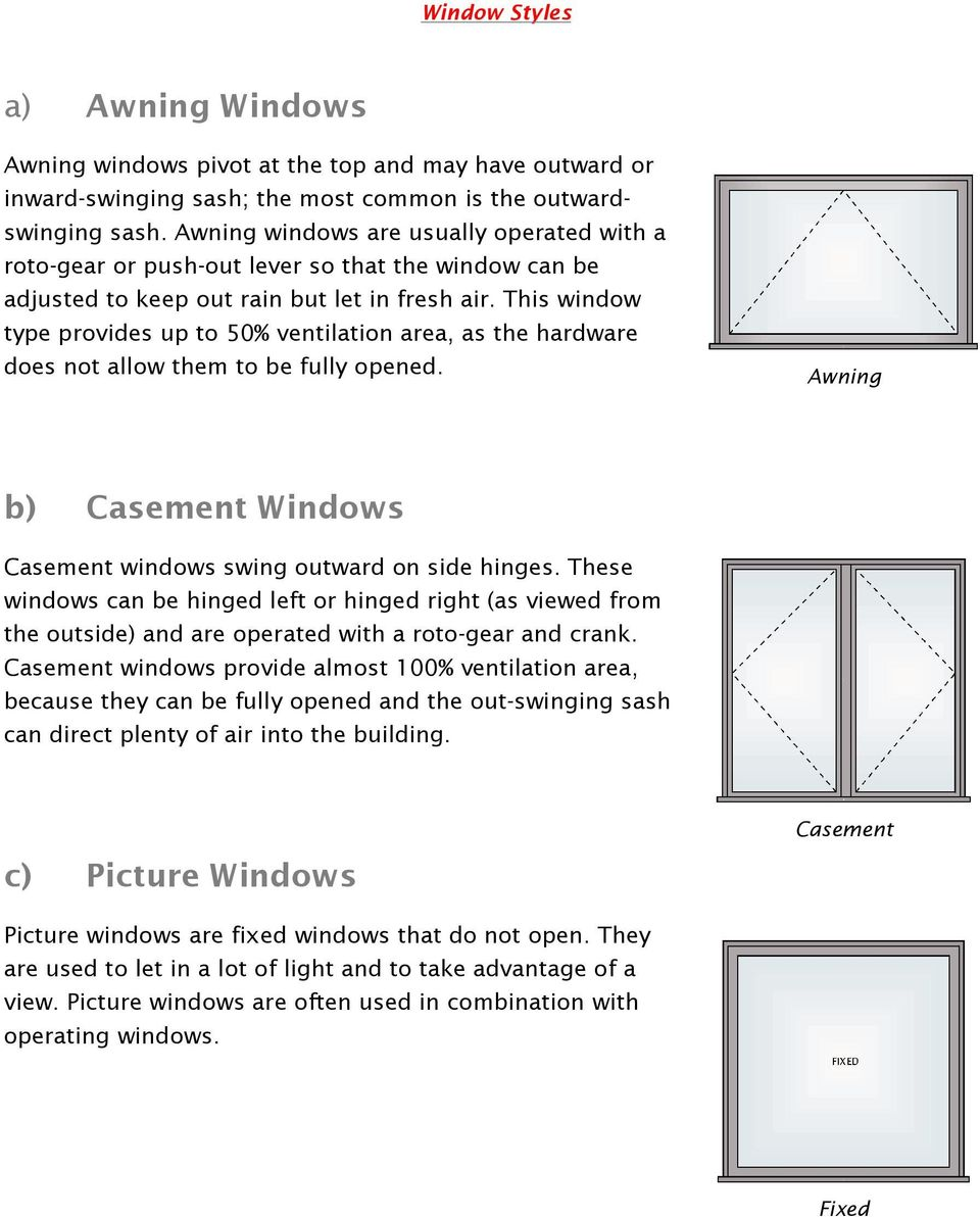 This window type provides up to 50% ventilation area, as the hardware does not allow them to be fully opened. Awning b) Casement Windows Casement windows swing outward on side hinges.
