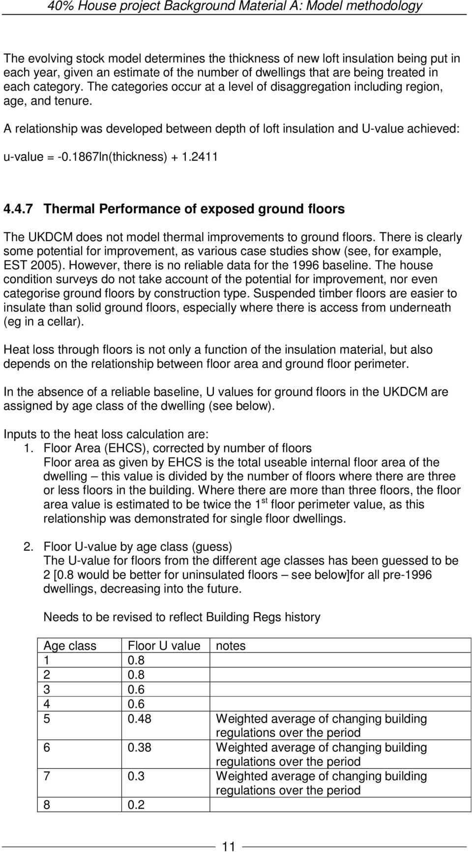 1867ln(thickness) + 1.2411 4.4.7 Thermal Performance of exposed ground floors The UKDCM does not model thermal improvements to ground floors.