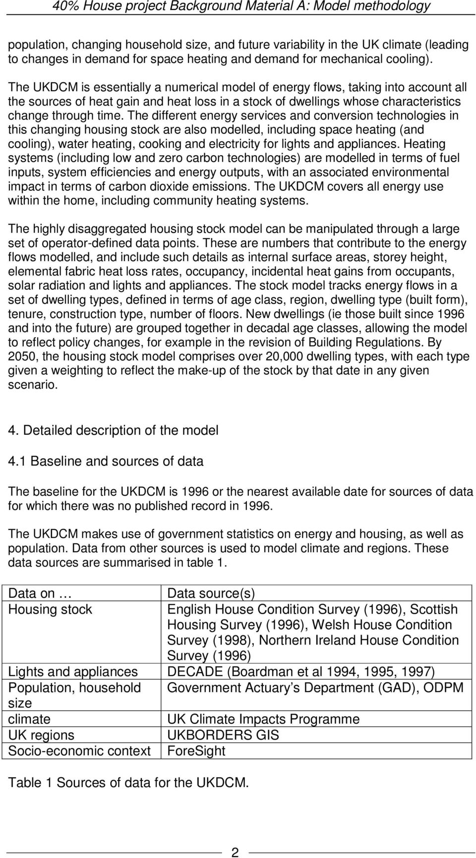 The different energy services and conversion technologies in this changing housing stock are also modelled, including space heating (and cooling), water heating, cooking and electricity for lights