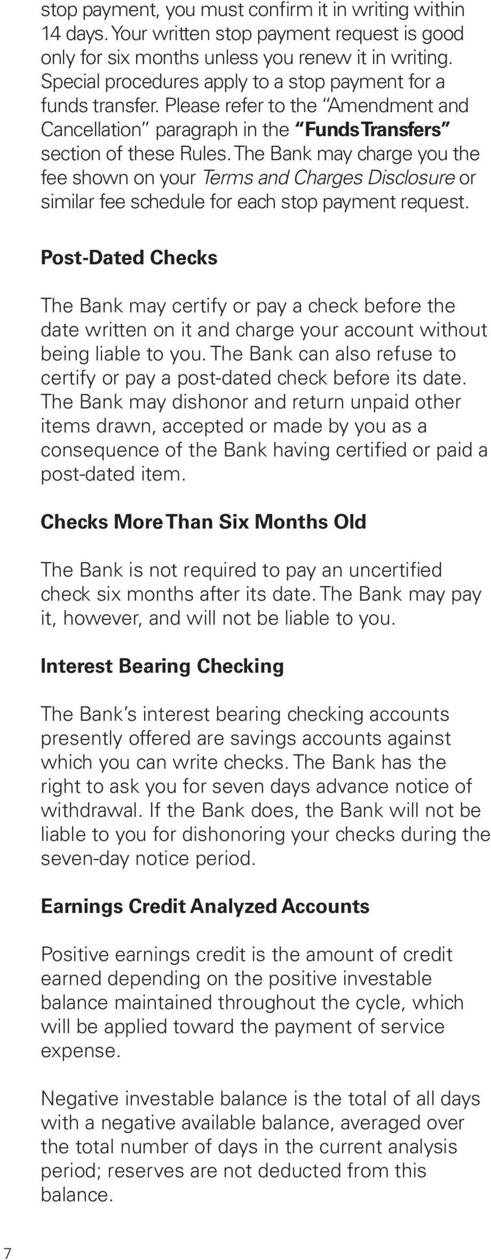 Rules For  Commercial Deposit Accounts - PDF