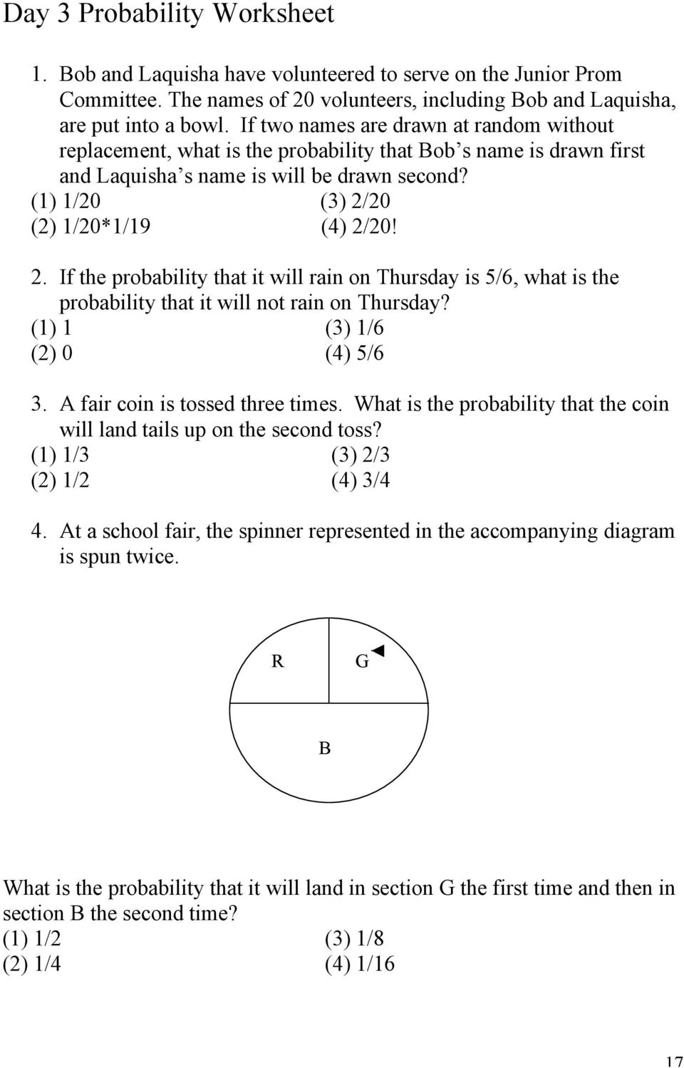 Probability And Counting Problems with the TI-25 - PDF Free Download Pertaining To Probability Worksheet High School
