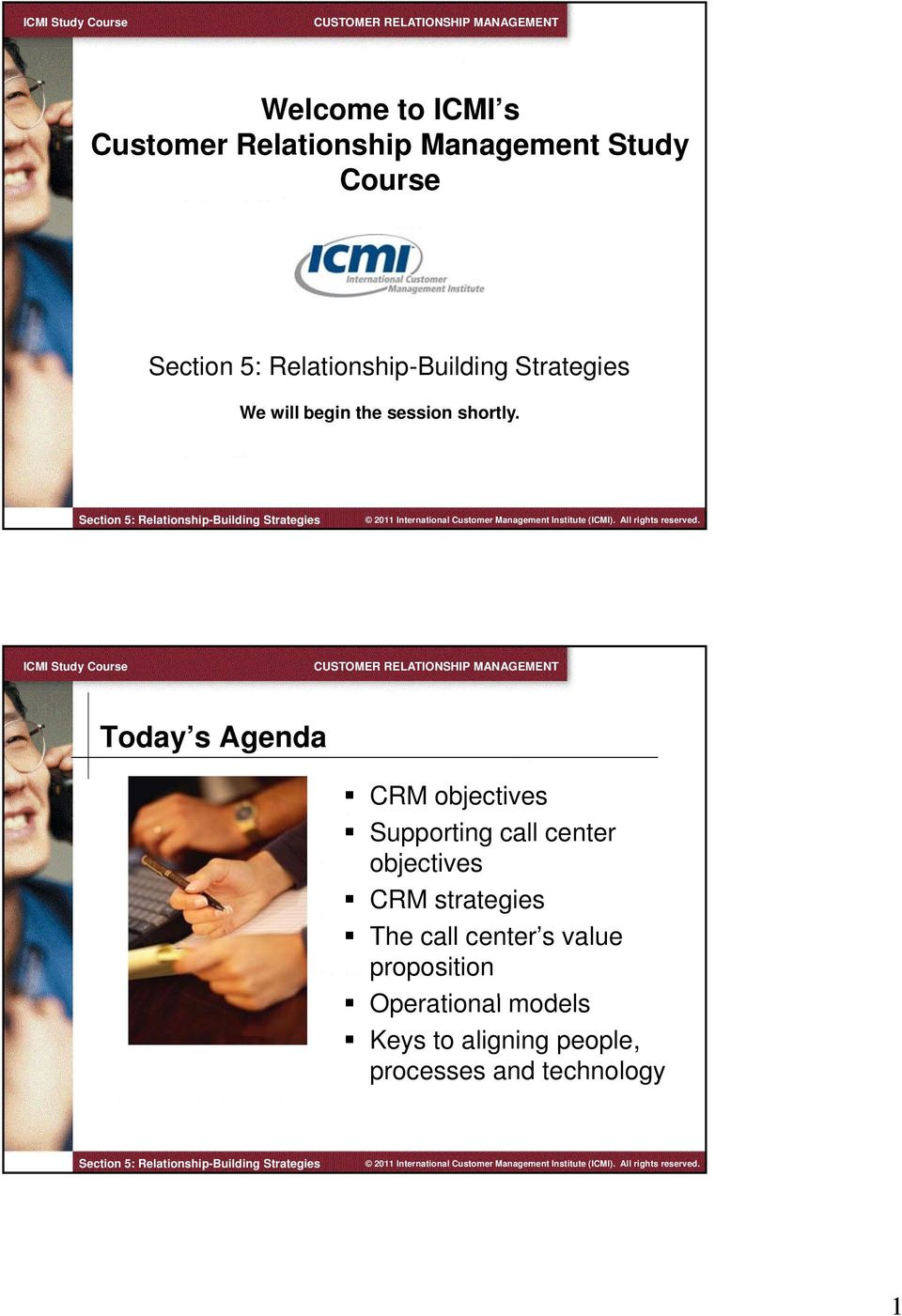 Today s Agenda CRM objectives Supporting call center objectives CRM