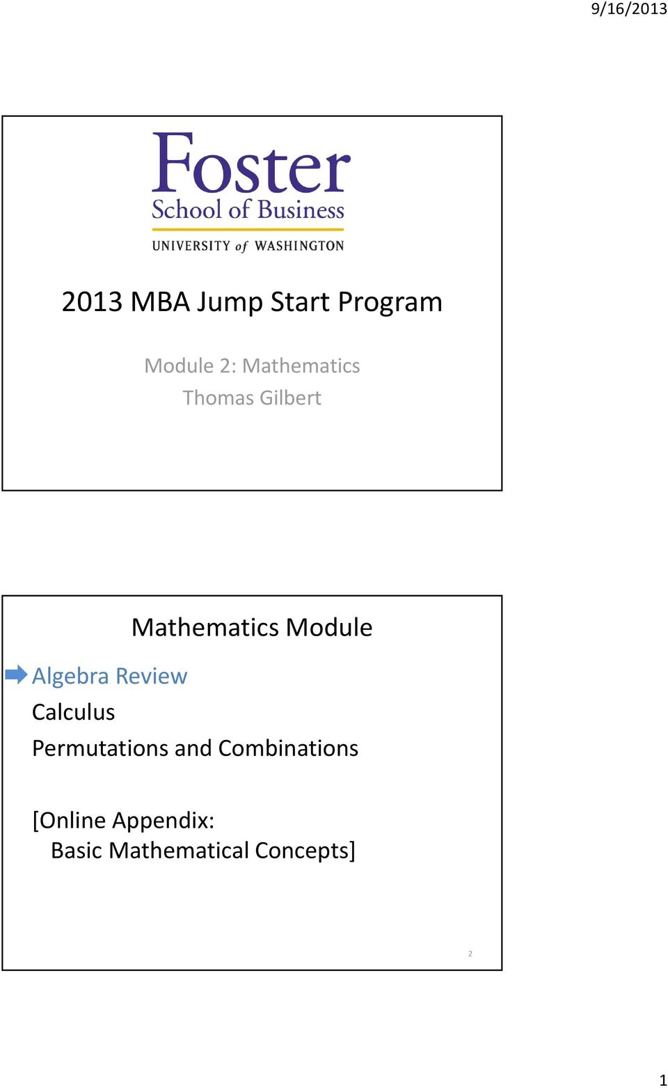 Algebra Review Calculus Permutations and