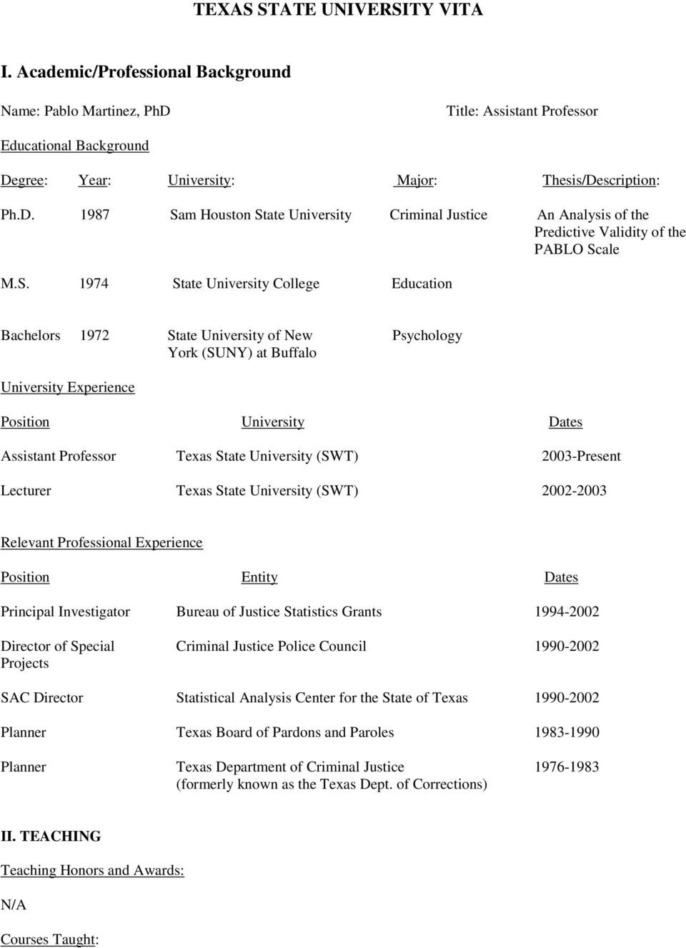 S. 1974 State University College Education Bachelors 1972 State University of New Psychology York (SUNY) at Buffalo University Experience Position University Dates Assistant Professor Texas State