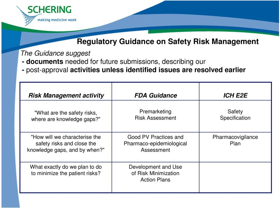 """ Premarketing Risk Assessment Safety Specification ""How will we characterise the safety risks and close the knowledge gaps, and by when?"