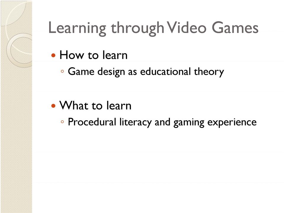 educational theory What to learn