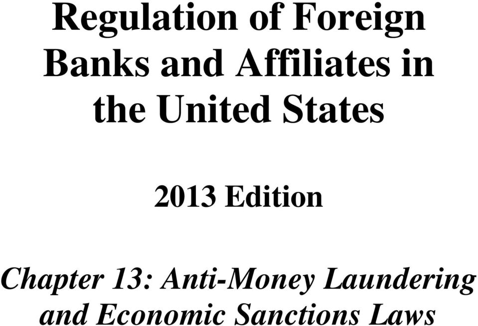 Regulation Of Foreign Banks And Affiliates In The United States Pdf