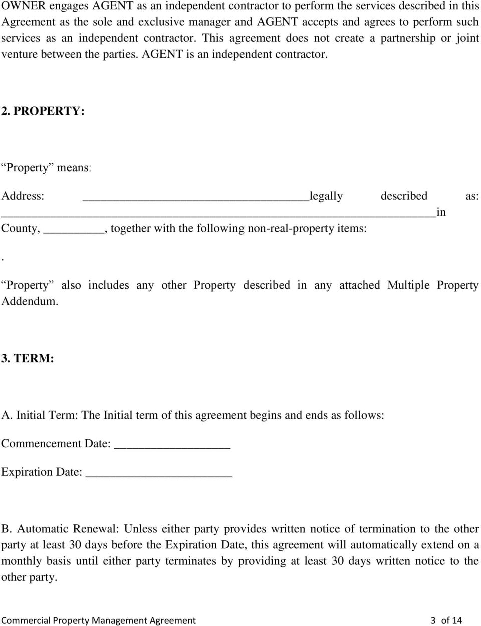 PROPERTY: Property means: Address: legally described as: in County,, together with the following non-real-property items:.