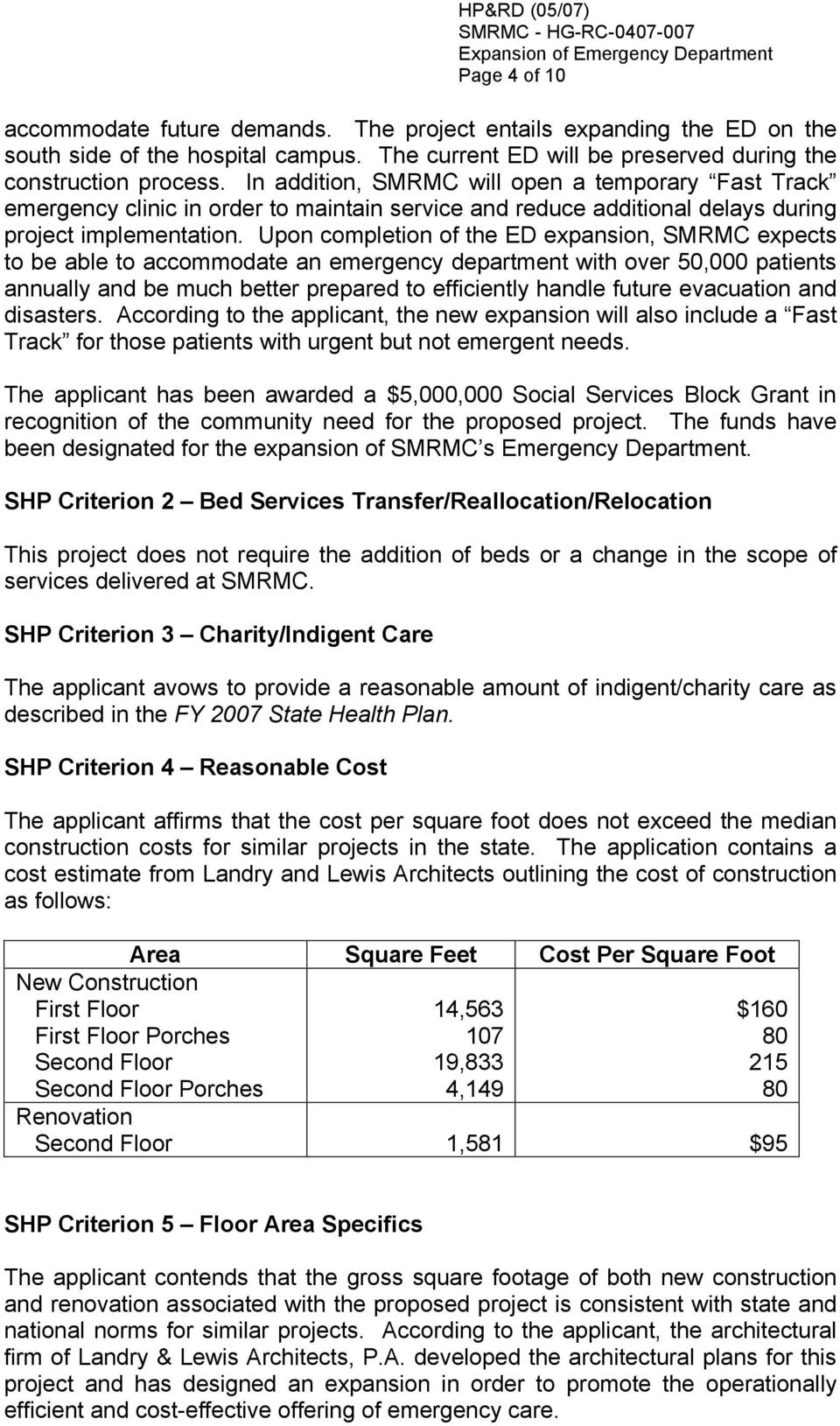 Upon completion of the ED expansion, SMRMC expects to be able to accommodate an emergency department with over 50,000 patients annually and be much better prepared to efficiently handle future