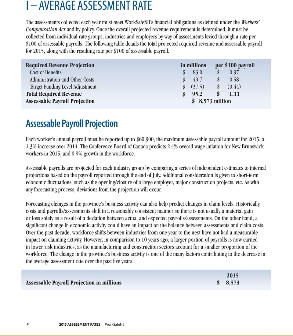 assessable payrolls. The following table details the total projected required revenue and assessable payroll for 2015, along with the resulting rate per $100 of assessable payroll.