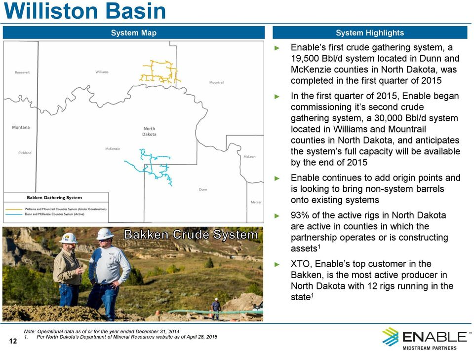 system s full capacity will be available by the end of 2015 Enable continues to add origin points and is looking to bring non-system barrels onto existing systems 93% of the active rigs in North