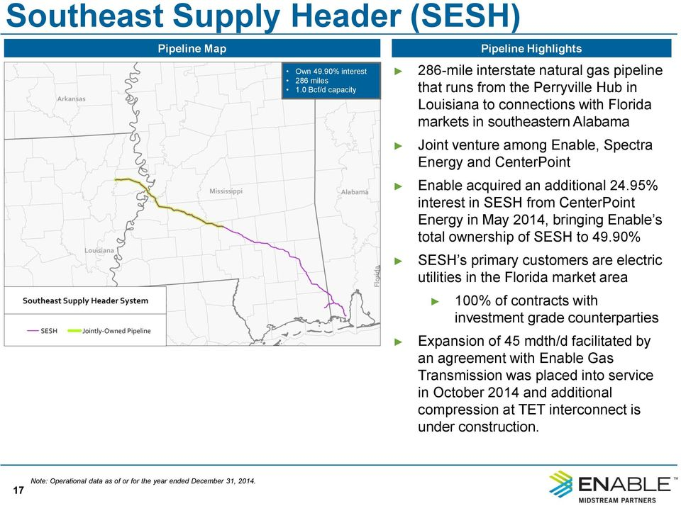 Spectra Energy and CenterPoint Enable acquired an additional 24.95% interest in SESH from CenterPoint Energy in May 2014, bringing Enable s total ownership of SESH to 49.