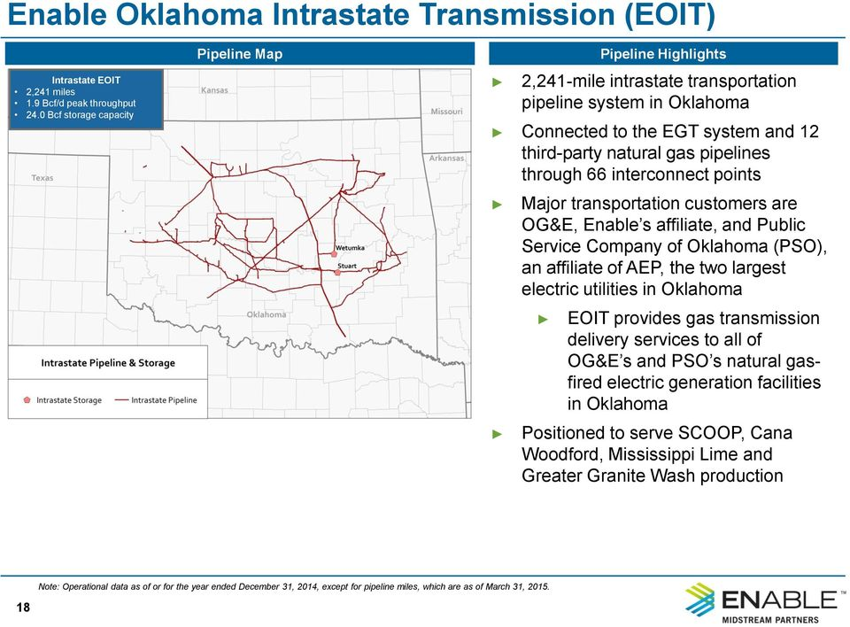 points Major transportation customers are OG&E, Enable s affiliate, and Public Service Company of Oklahoma (PSO), an affiliate of AEP, the two largest electric utilities in Oklahoma Pipeline