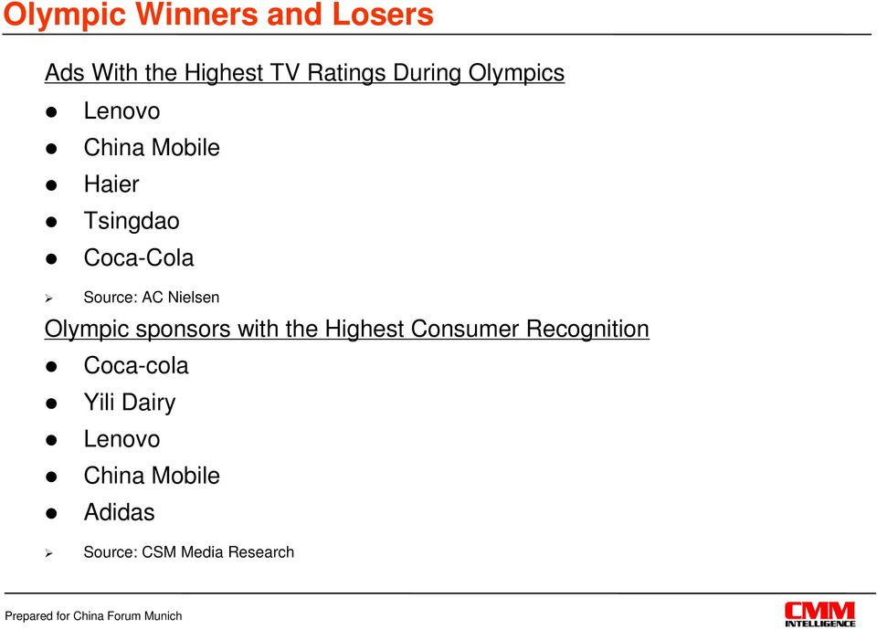 Nielsen Olympic sponsors with the Highest Consumer Recognition