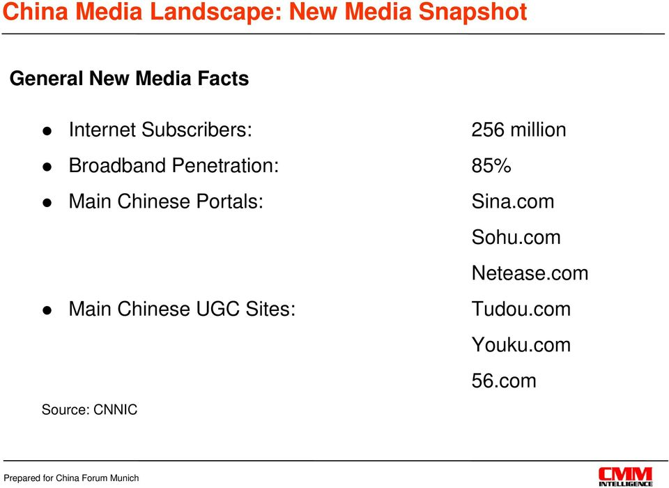 Penetration: 85% Main Chinese Portals: Main Chinese UGC
