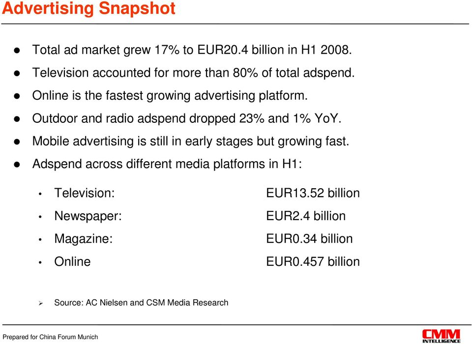 Outdoor and radio adspend dropped 23% and 1% YoY. Mobile advertising is still in early stages but growing fast.