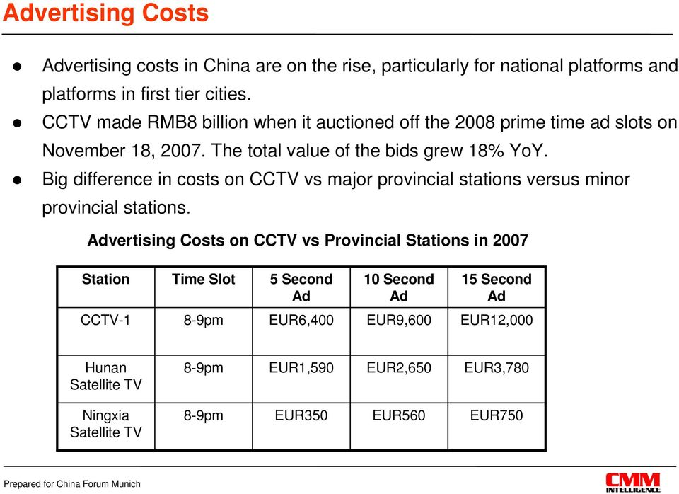 Big difference in costs on CCTV vs major provincial stations versus minor provincial stations.