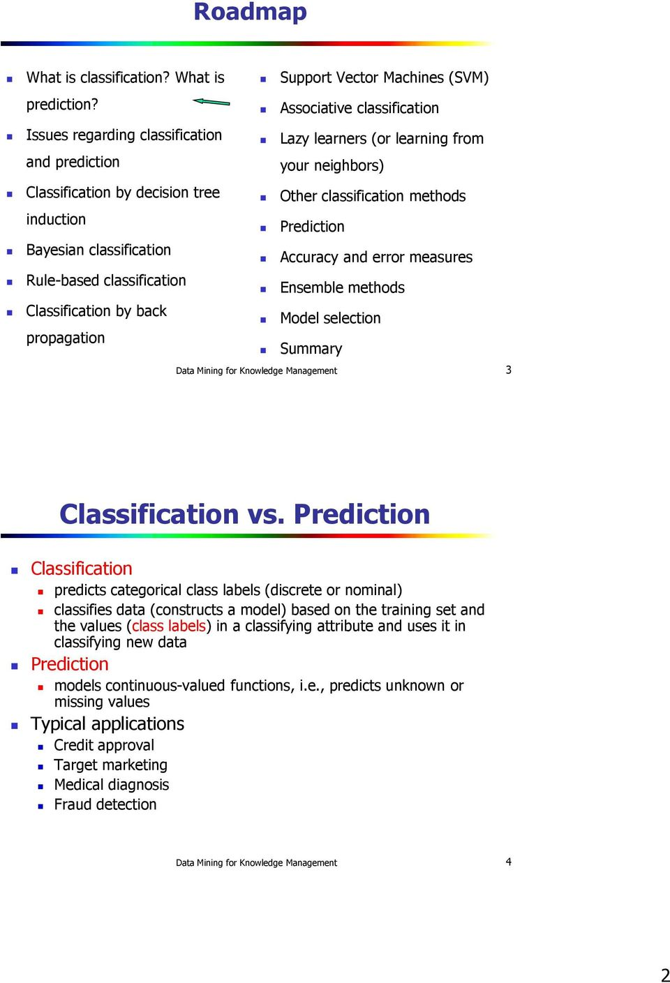 Prediction Bayesian classification Accuracy and error measures Rule-based classification Ensemble methods Classification by back Model selection propagation Summary Data Mining for Knowledge