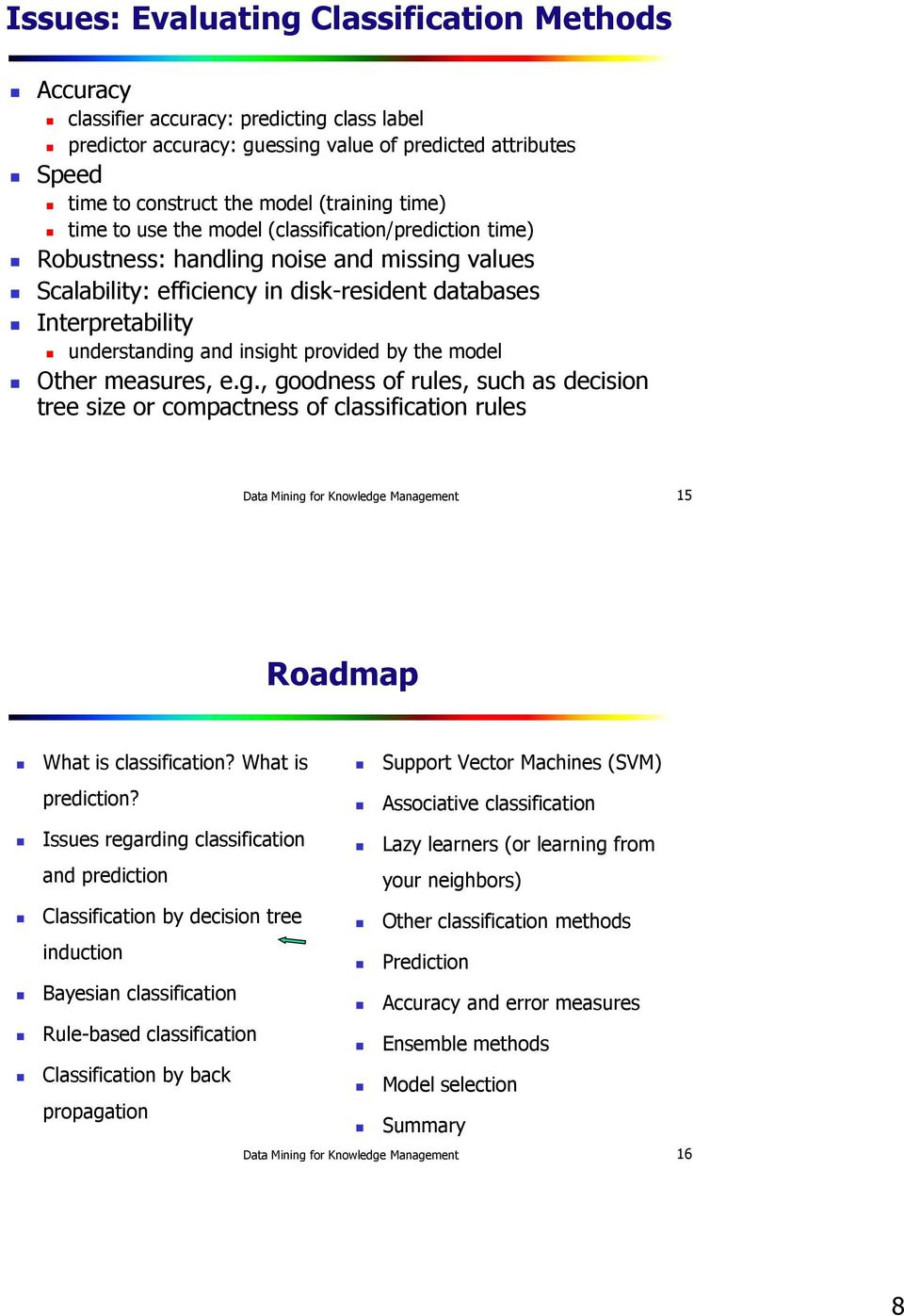 insight provided by the model Other measures, e.g., goodness of rules, such as decision tree size or compactness of classification rules Data Mining for Knowledge Management 15 Roadmap What is classification?