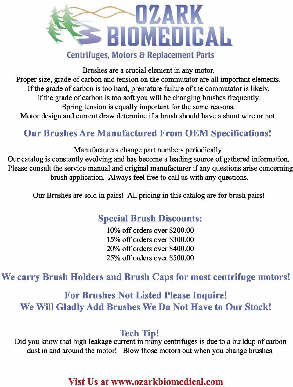 Brush Application List Prices Are Per Pair Unless Otherwise Bodine Electric Motor Brushes Replacement Repalcement Parts 8