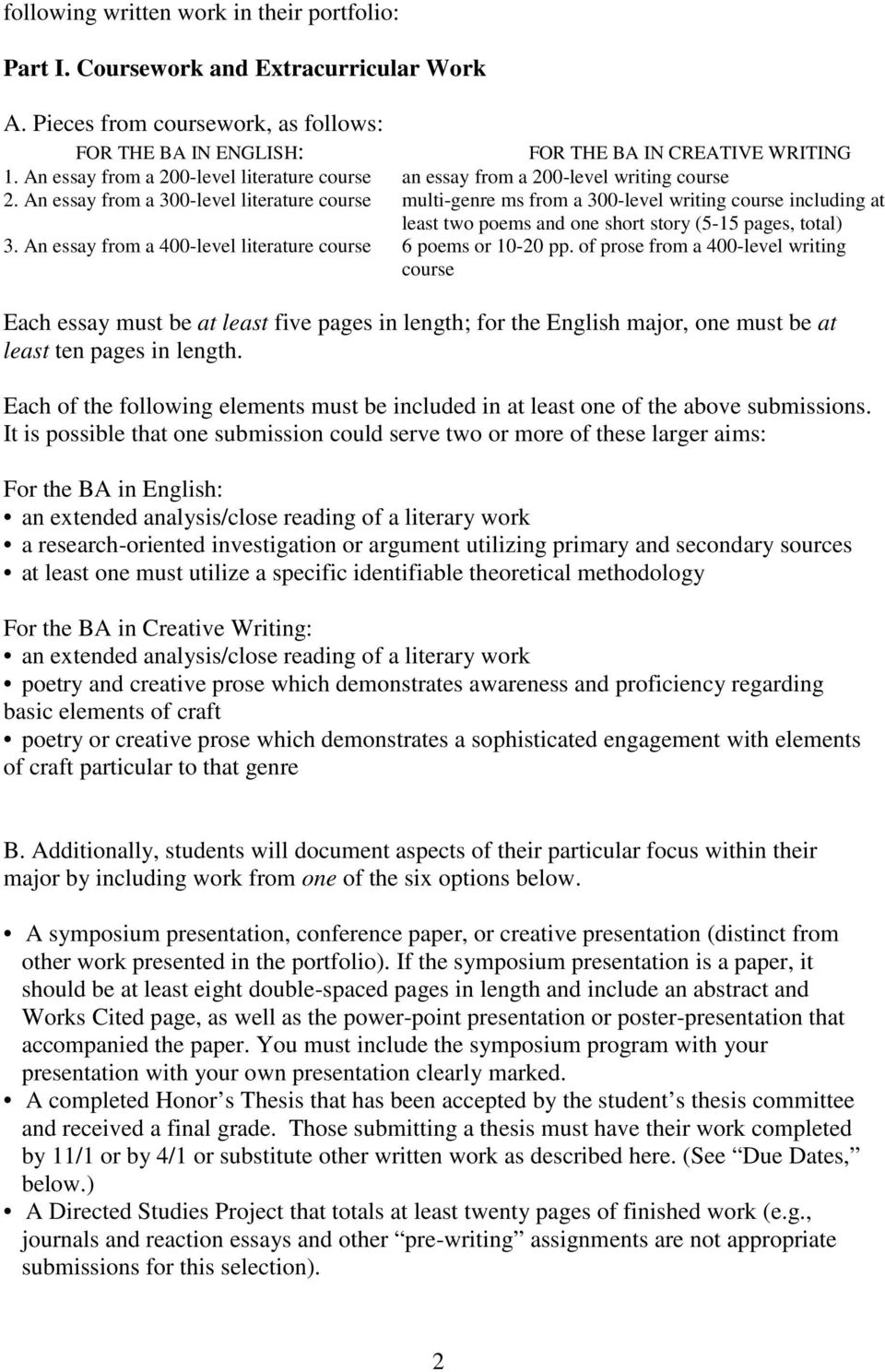 An essay from a 300-level literature course multi-genre ms from a 300-level writing course including at least two poems and one short story (5-15 pages, total) 3.