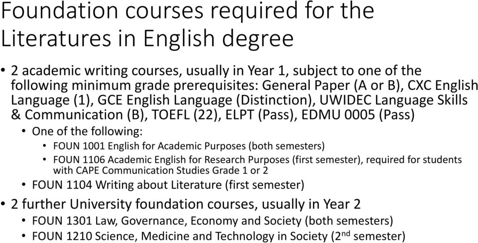 Academic Purposes (both semesters) FOUN 1106 Academic English for Research Purposes (first semester), required for students with CAPE Communication Studies Grade 1 or 2 FOUN 1104 Writing about