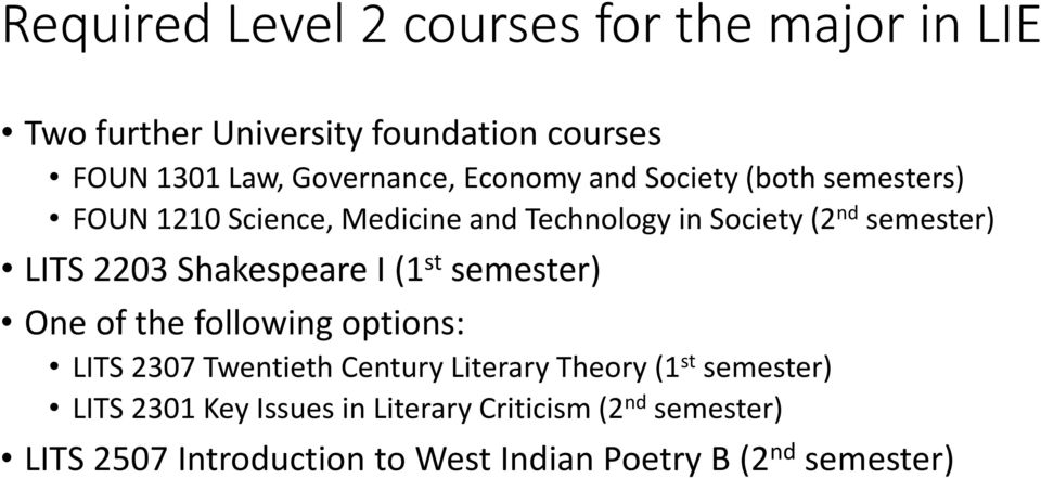 Shakespeare I (1 st semester) One of the following options: LITS 2307 Twentieth Century Literary Theory (1 st