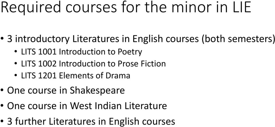 Introduction to Prose Fiction LITS 1201 Elements of Drama One course in