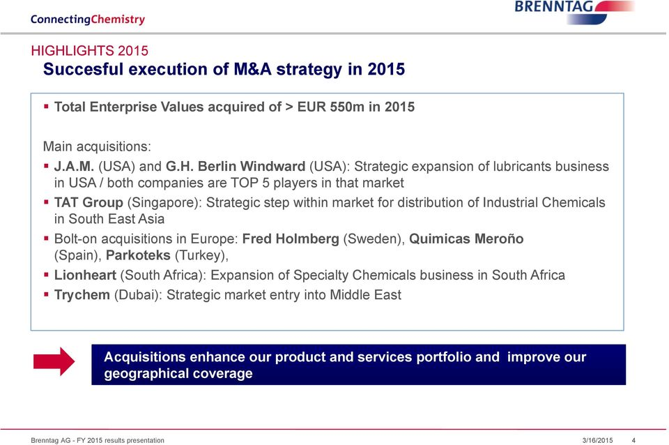 East Asia Bolt-on acquisitions in Europe: Fred Holmberg (Sweden), Quimicas Meroño (Spain), Parkoteks (Turkey), Lionheart (South Africa): Expansion of Specialty Chemicals business in South Africa