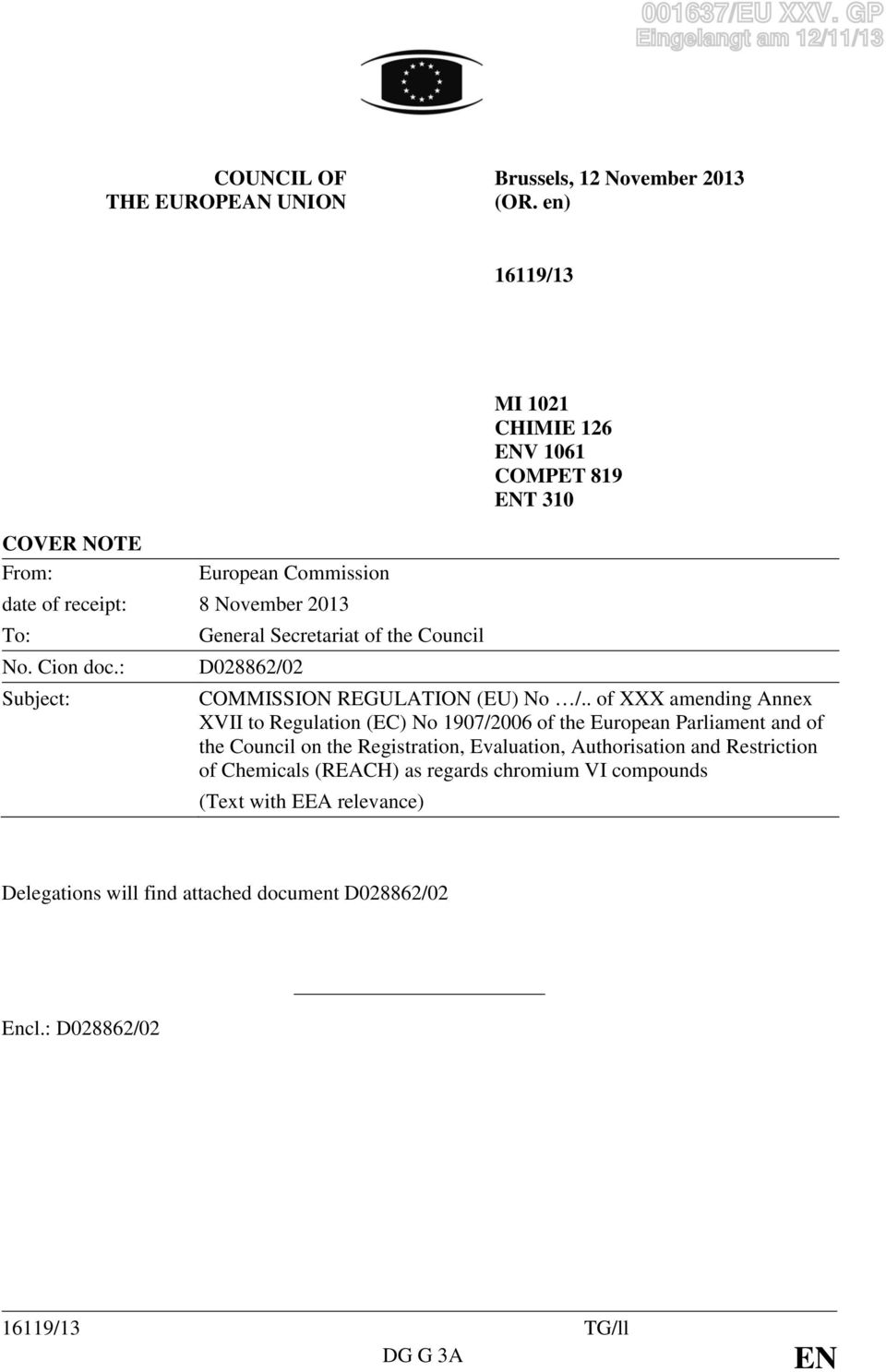 No. Cion doc.: D028862/02 Subject: COMMISSION REGULATION (EU) No /.