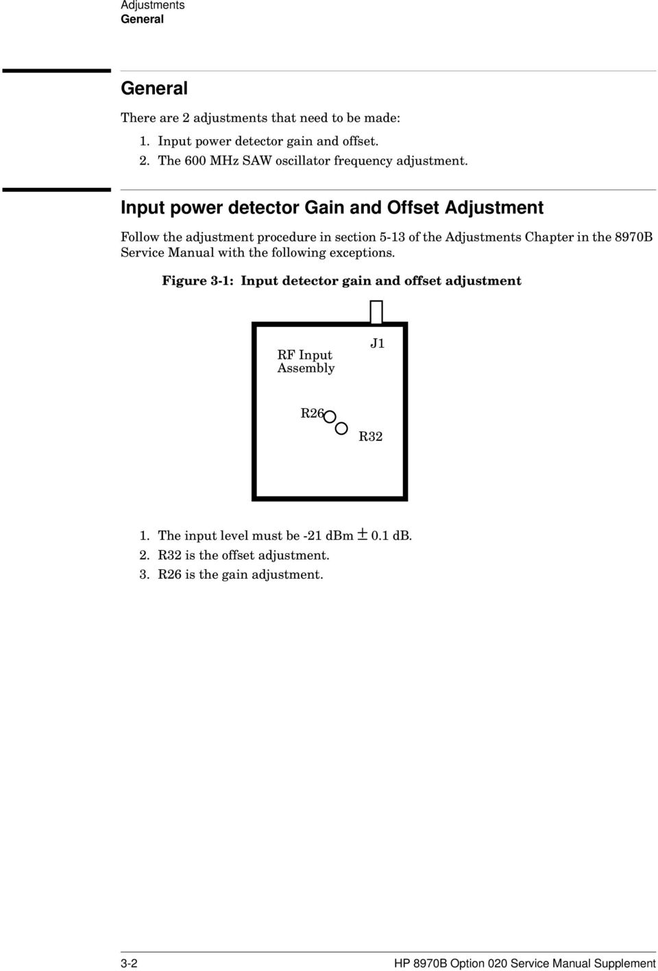 Manual with the following exceptions. Figure 3-1: Input detector gain and offset adjustment RF Input Assembly J1 R26 R32 1.